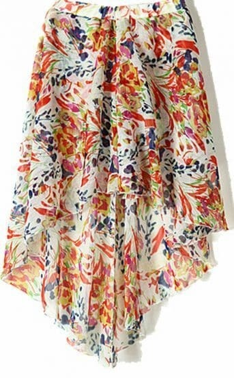 Orange Floral Print Print Dipped Hem Elastic Waist Skirt