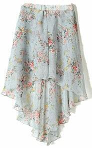 Grey Small Floral Print Dipped Hem Elastic Waist Skirt