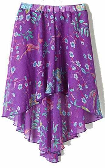 Purple Bird and Flower Print Dipped Hem Elastic Waist Chiffon Skirt