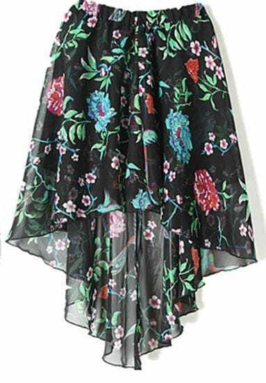 Black Bird and Flower Print Dipped Hem Elastic Waist Chiffon Skirt