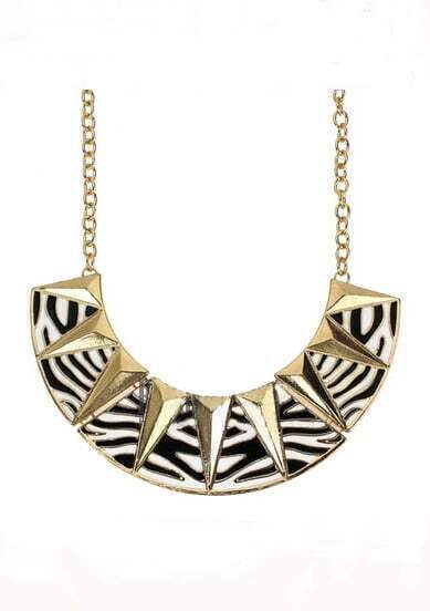 Zebra and Triangle Print Collar Necklace