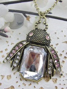 Pink Rhinestone Embellished Bee Pendant Long Necklace