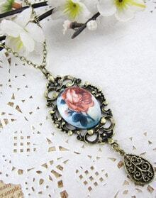 Flower Print Drop Long Necklace