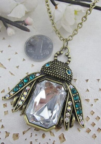 Blue Rhinestone Embellished Bee Pendant Long Necklace