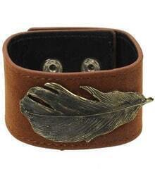 Leaf Leather Cuff Bracelet With Silver Studs Click