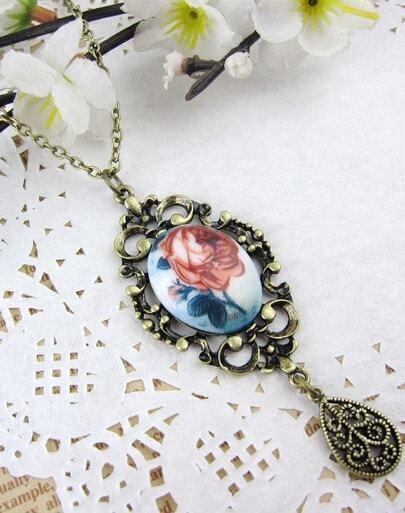 Flower Print Drop Long Necklace