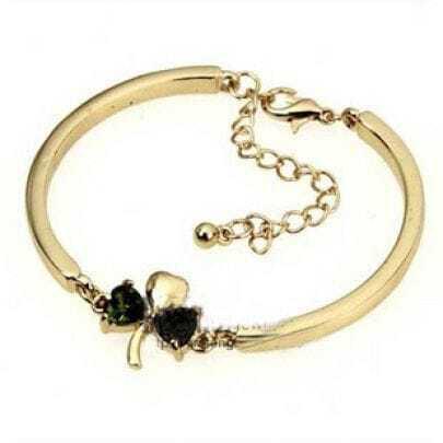Deep Blue Rhinestone Embellished Clover Bracelet