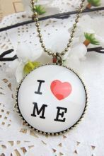 I LOVE ME Print Rhinestone Long Necklace