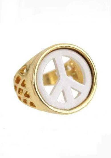 Peace Sign Embellished Rings