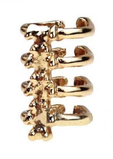Golden Alloy Arrow Skeleton Ring