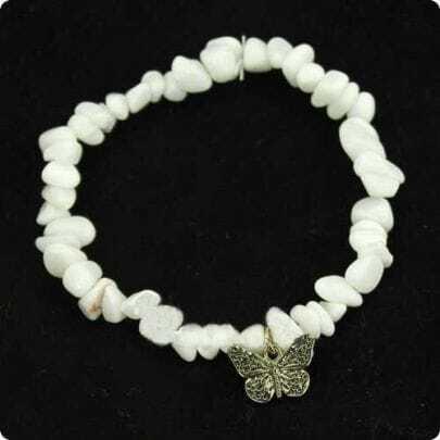 Stone Butterfly Charm Stretch Bracelet