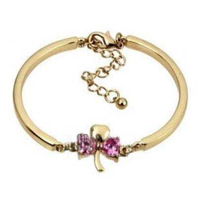 Pink Rhinestone Embellished Clover Bracelet