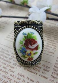 Rhinestone Embellished With Flower Print Ring