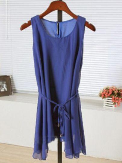 Blue Round Neck Sleeveless Single Button Asymmetrical Dress