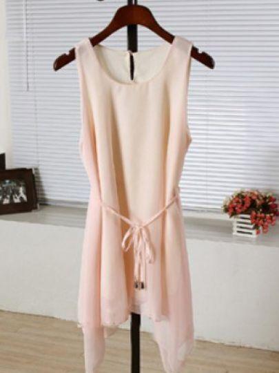 Pink Round Neck Sleeveless Single Button Asymmetrical Dress
