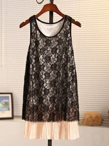 Beige Round Neck Sleeveless Lace Color Block Pleated Dress