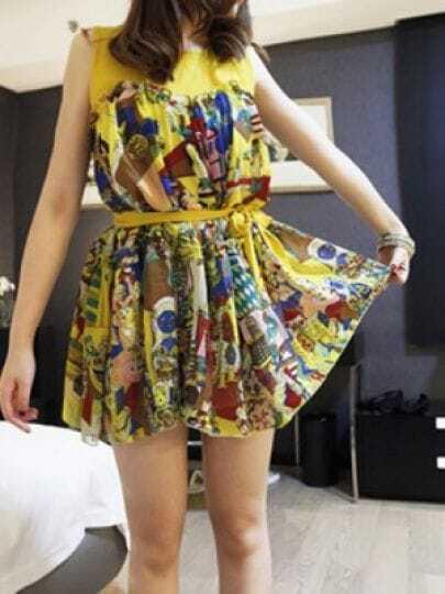 Yellow Round Neck Sleeveless Floral Color Block Belt Dress