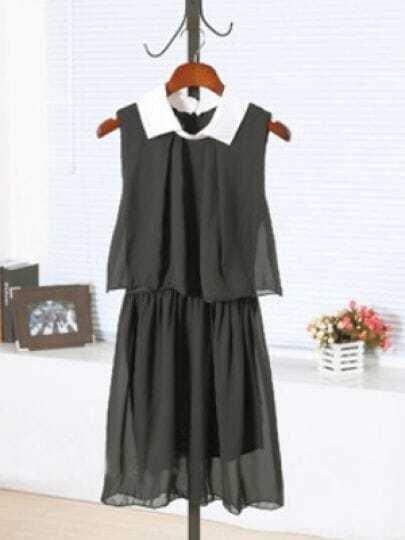 Black Lapel Sleeveless Elastic Waist Chiffon Dress
