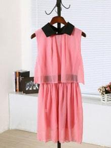 Pink Lapel Sleeveless Elastic Waist Chiffon Dress