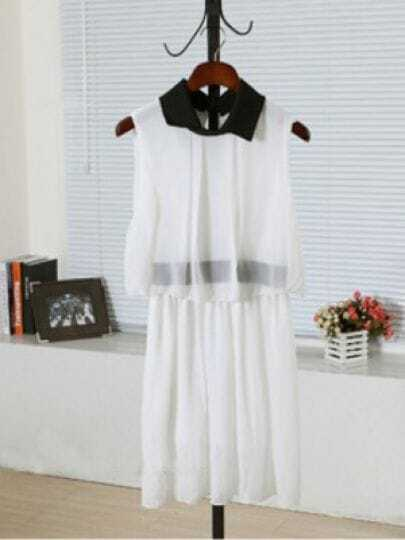 White Lapel Sleeveless Elastic Waist Chiffon Dress