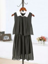 Black Lapel Sleeveless Elastic Waist Chiffon Dress
