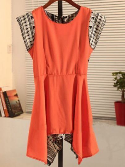 Orange Round Neck Short Sleeve Geometric Print Color Block Dress