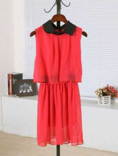 Red Lapel Sleeveless Elastic Waist Chiffon Dress