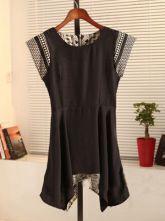 Black Round Neck Short Sleeve Geometric Print Color Block Dress