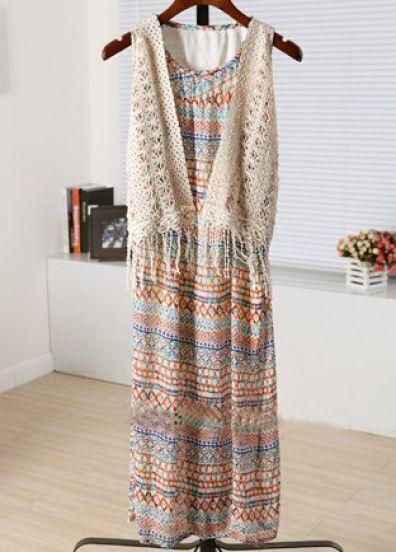 Multi Round Neck Sleeveless Striped Two Pieces Dress