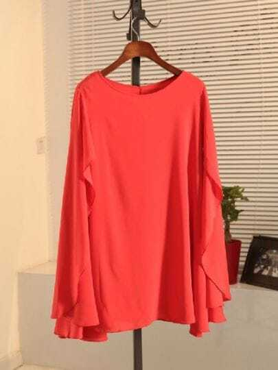 Orange Round Neck Split Sleeve Chiffon Dress