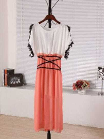 Pink Round Neck Short Sleeve Batwing Lace Color Block Dress
