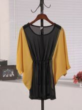 Yellow Round Neck Batwing Sleeve Color Block High Waist Dress