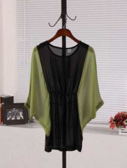Green Round Neck Batwing Sleeve Color Block High Waist Dress