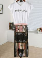 White Round Neck Short Sleeve Letter Print High Waist Dress