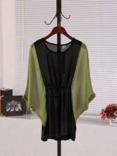 Green Round Neck Batwing Sleeve Color Block High Waist Dress