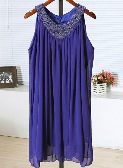 Blue Round Neck Sleeveless Studded Cascading Ruffle Chiffon Dress