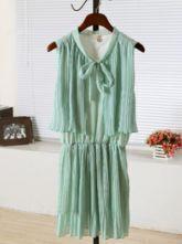 Green Round Neck Sleeveless Elastic Waist Pleated Chiffon Dress