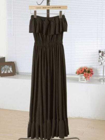Black Strapless Elastic High Waist Ruffles Lace Dress
