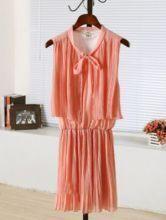 Pink Round Neck Sleeveless Elastic Waist Pleated Chiffon Dress