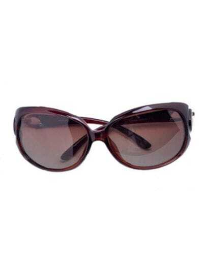 Coffee Fashion Plastic Frame Wayfarer Sunglasses