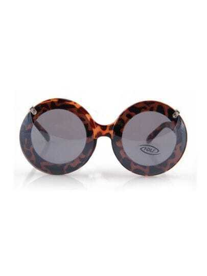 Leopard Fashion Double Lens Round Frame Sunglasses