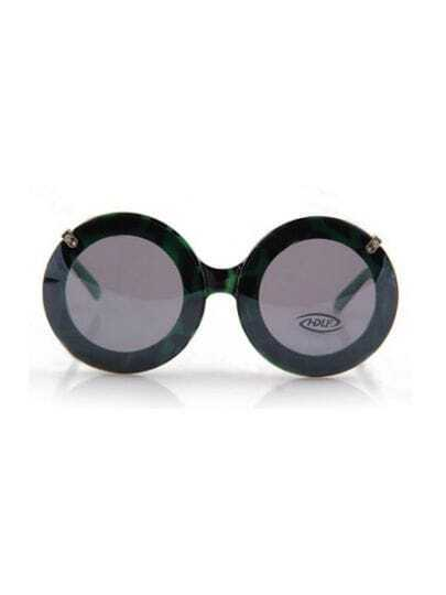 Green Fashion Double Lens Round Frame Sunglasses