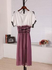 Purple Round Neck Short Sleeve Batwing Lace Color Block Dress