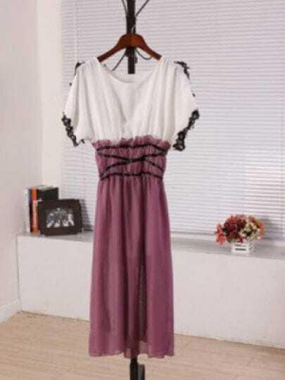Purple Round Neck Short Sleeve Batwing Lace Color Block Dress
