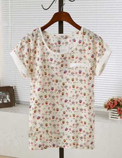Small House Print Round Neck Turn Up Short Sleeve Chiffon T-shirt