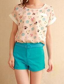 Pink Bird Print Round Neck Turn Up Short Sleeve Chiffon T-shirt