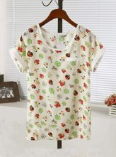 Beige Bird Print Round Neck Turn Up Short Sleeve Chiffon T-shirt
