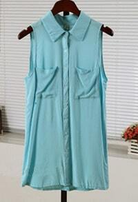Green Collar Sleeveless Chiffon Blouse With Pocket
