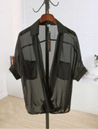 Black Half Sleeve Pockets Chiffon Sheer Wrap Blouse