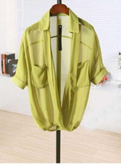 Green Half Sleeve Pockets Chiffon Sheer Wrap Blouse